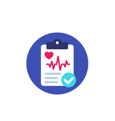 Cardiogram heart diagnosis report icon vector