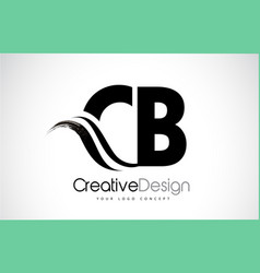 Cb c b creative brush black letters design with vector