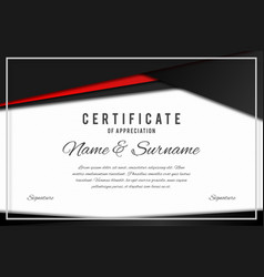 Certificate template in elegant black and red vector