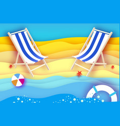 Chaise lounge origami sea and beach sport ball vector