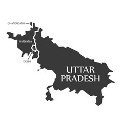 Chandigarh - haryana - delhi - uttar pradesh map vector