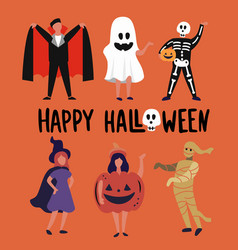 children and teenagers dressed up in halloween vector image