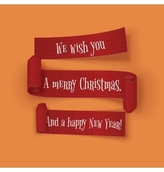 Christmas and New Year greeting red Ribbons Set vector image