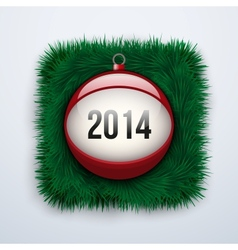 Christmas ball with the date New Year 2014 vector image