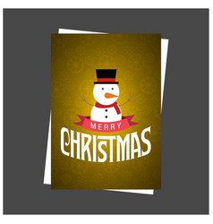Christmas card with snow man and pattern vector