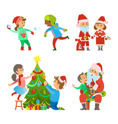 Christmas holiday winter fun of children outdoors vector
