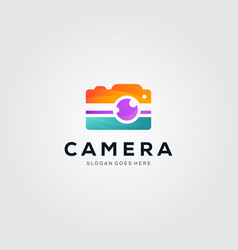 Colorful camera photography logo design vector