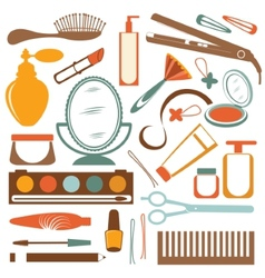 Colorful stylish set of make up elements vector