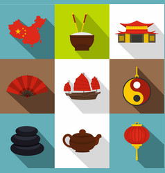 country of china icon set flat style vector image