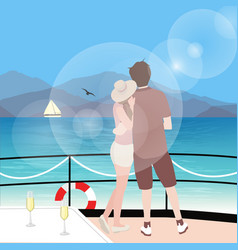 Couple stting on sailboat deck looking at sealine vector