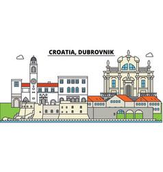 Croatia dubrovnik city skyline architecture vector
