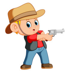 cute boy dressed as a cowboy with revolver vector image