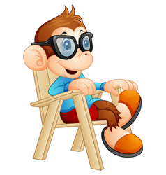cute cartoon monkey relaxing on the chair vector image
