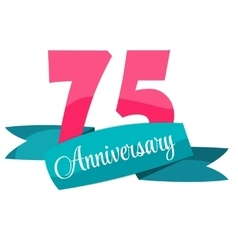 Cute Template 75 Years Anniversary Sign vector