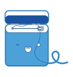 dental floss kawaii in blue silhouette vector image