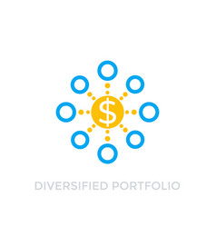 Diversified portfolio icon on white vector
