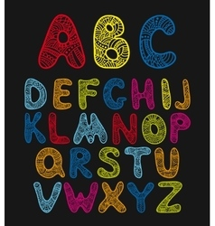 Doodle hand drawn color alphabet vector image