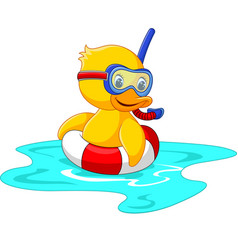 Duck diver with swimming belt sitting vector
