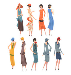 Elegant woman in retro dresses set beautiful vector
