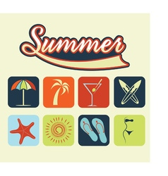 flat icons summer vector image