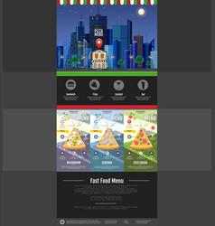 Flat style pizzeria cafe design web site design vector