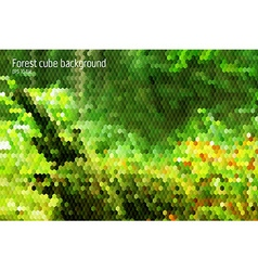 Forest stylish modern background with 3d cubes vector