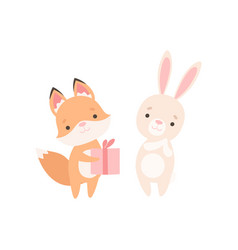 fox cub giving gift to white little bunny cute vector image