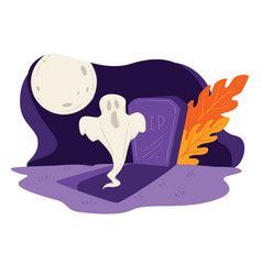 ghost raising from grave in full moon halloween vector image