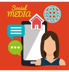 Girl mobile chat speech globe web social media vector