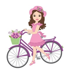 Girl with Bicycle vector