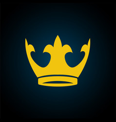 gold yellow crown icon symbol of king vector image