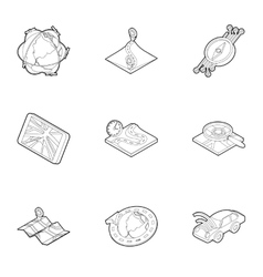 GPS icons set outline style vector