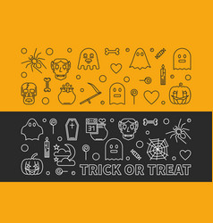 halloween banners outline 31 oct holiday vector image