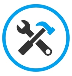 Hammer And Wrench Rounded Icon vector image