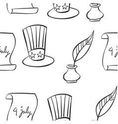 Hand draw memorial day collection doodles vector