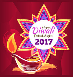 Happy diwali festival of lights 2017 poster vector