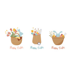Happy easter vintage style easter rattan baskets vector