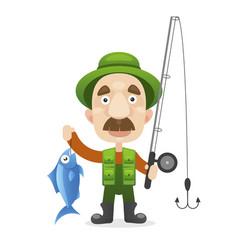 happy fisherman character hold big fish vector image