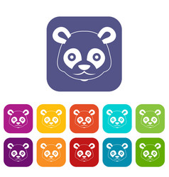 Head of panda icons set vector