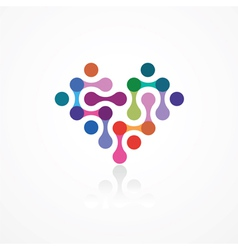 Heart from color connected elements vector