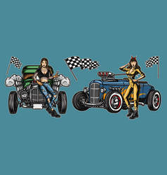 Hot rods vintage colorful composition vector