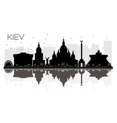 Kiev city skyline black and white silhouette vector