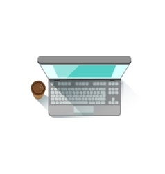 Lap Top An PAper Cup With Coffee Office Worker vector image