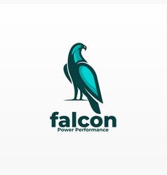 Logo falcon mascot cartoon stylemulticolored vector