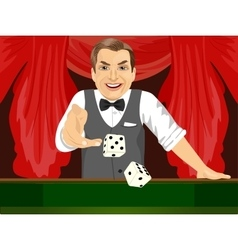Mature man throwing dice in casino playing craps vector