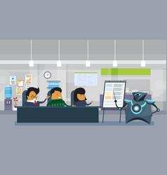 modern robot holding presentation or finance vector image