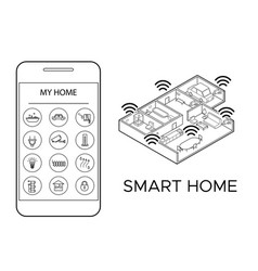 Monochrome smart home concept vector