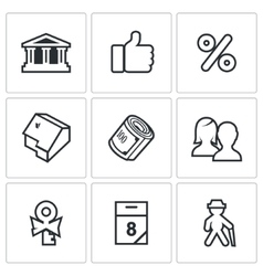 Mortgage credit lending icons set vector image