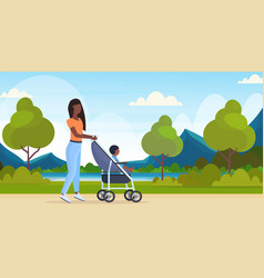 Mother with toddler son in stroller walking vector