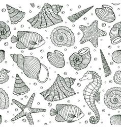 ocean inhabitants on white background vector image